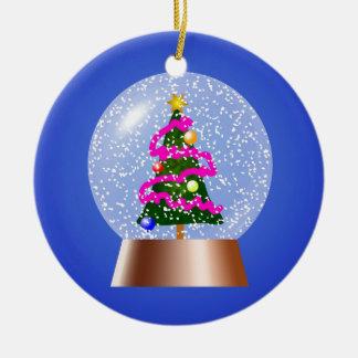 Christmas Tree Snowglobe Draped in Pink Tinsel Round Ceramic Decoration