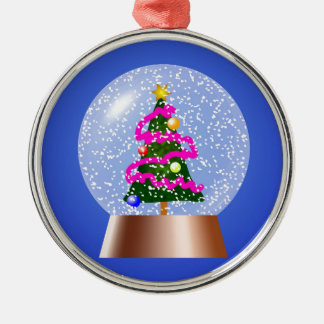 Christmas Tree Snowglobe Draped in Pink Tinsel Silver-Colored Round Decoration