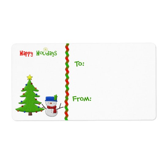 Christmas Tree, Snowman, Gift Tag Shipping Label