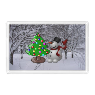 Christmas Tree, Snowman, Snow Scene Acrylic Tray