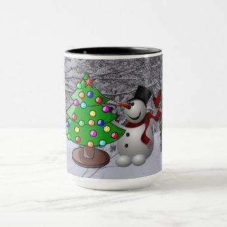 Christmas Tree, Snowman, Snow Scene Combo Mug