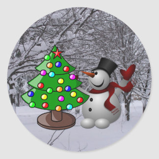 Christmas Tree, Snowman, Snow Scene Photo Stickers