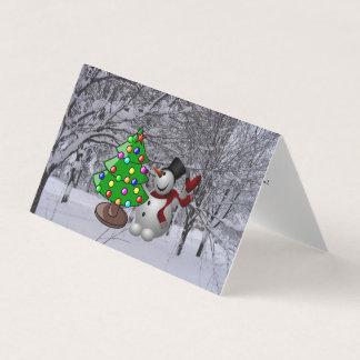 Christmas Tree, Snowman, Snow Scene Tent Fold Card