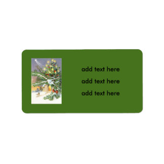 Christmas Tree Songbird Evergreen Church Address Label