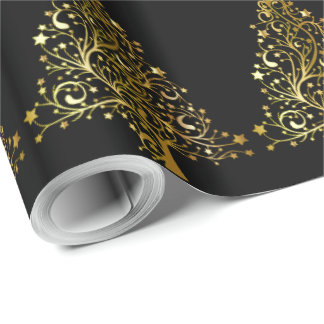 Christmas Tree Stars Black Gold Metallic Look Wrapping Paper