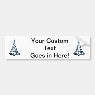 Christmas Tree stars n dashes mottled blue.png Bumper Sticker