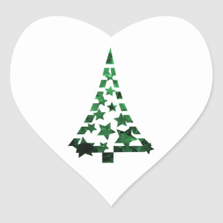 Christmas Tree stars n dashes mottled green Heart Sticker