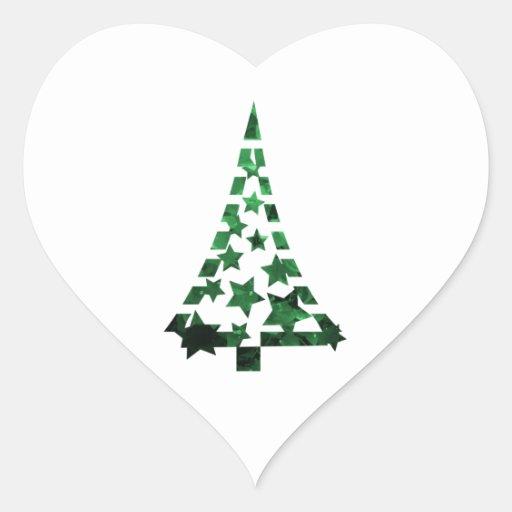 Christmas Tree stars n dashes mottled green Sticker