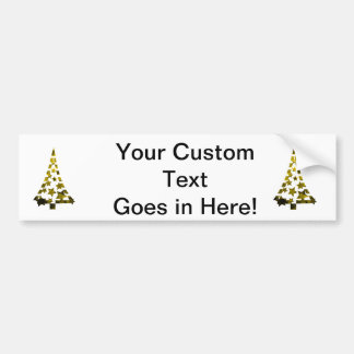 Christmas Tree stars n dashes mottled yellow.png Bumper Sticker