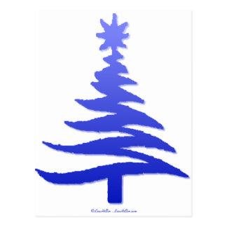 Christmas Tree Stencil Cobalt Blue Postcard
