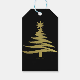 Christmas Tree Stencil Gold on Black Gift Tags