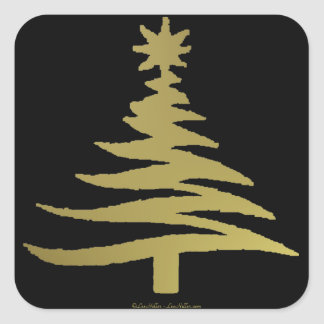 Christmas Tree Stencil Gold on Black Square Sticker