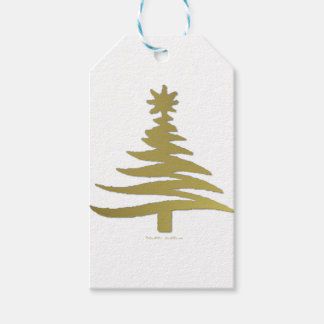Christmas Tree Stencil Gold on White Gift Tags