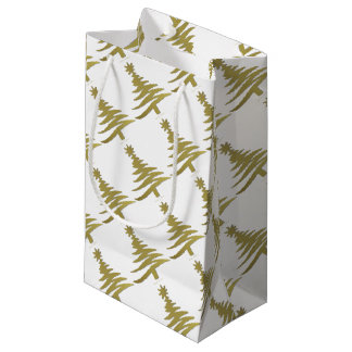 Christmas Tree Stencil Gold on White Small Gift Bag