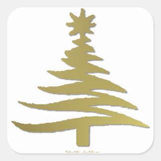 Christmas Tree Stencil Gold on White Square Sticker