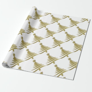 Christmas Tree Stencil Gold on White Wrapping Paper