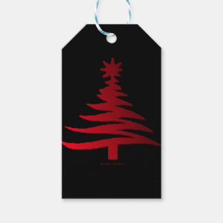 Christmas Tree Stencil Red on Black Gift Tags