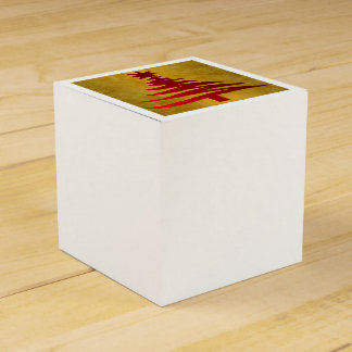 Christmas Tree Stencil Red on Gold Favour Box