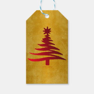 Christmas Tree Stencil Red on Gold Gift Tags