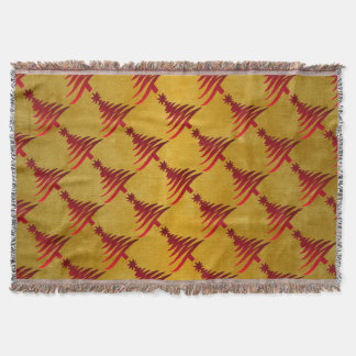 Christmas Tree Stencil Red on Gold Throw Blanket