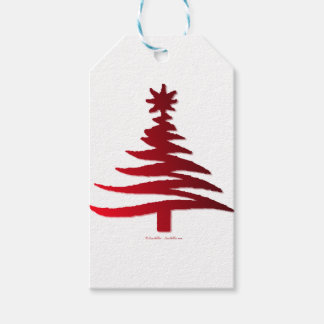 Christmas Tree Stencil Red on White Gift Tags