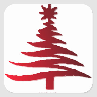 Christmas Tree Stencil Red on White Square Sticker