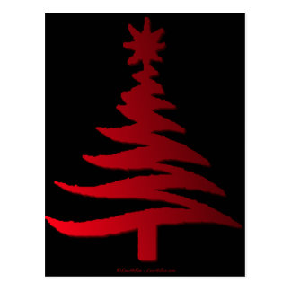 Christmas Tree Stencil Red Post Card