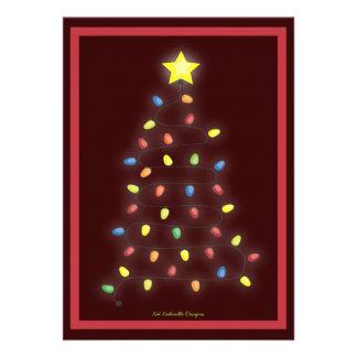 Christmas Tree String of Lights Holiday Party Custom Invite
