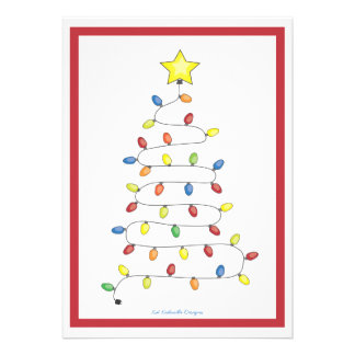 Christmas Tree String of Lights Holiday Party Invite
