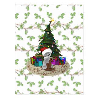 Christmas Tree Teddy Postcard