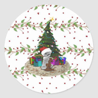 Christmas Tree Teddy Round Sticker