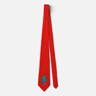 Christmas Tree Tie - Red - Humorous Christmas Tree