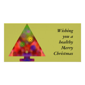 Christmas Tree - Triangle decorated Customized Photo Card