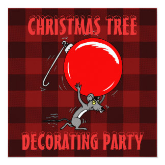 Christmas Tree Trimming Party | Red Plaid Mouse Card