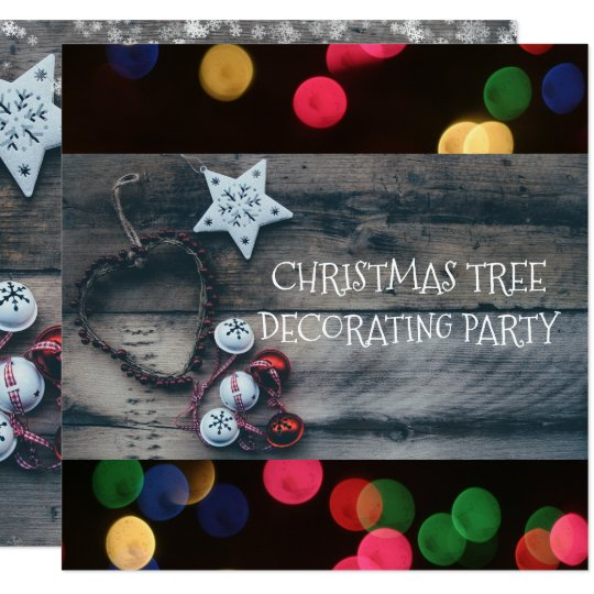 Christmas Tree Trimming Party Rustic Wood Bokeh Card