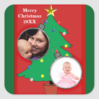 Christmas Tree Two Ornament Photo 20XX Stickers