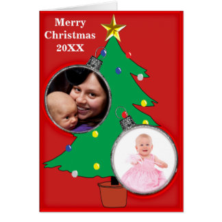 Christmas Tree Two Ornament Photo Frames 20XX Card