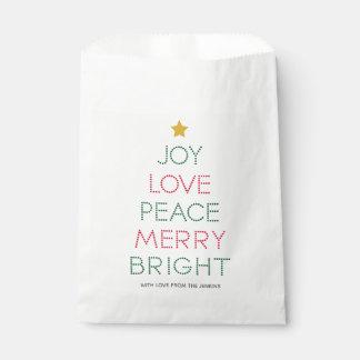 Christmas Tree Typography Christmas Favour Bag