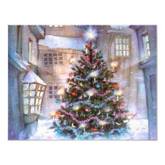 Christmas Tree Vintage 11 Cm X 14 Cm Invitation Card