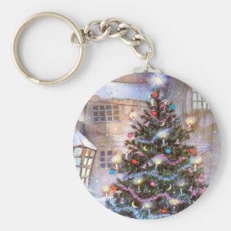 Christmas Tree Vintage Basic Round Button Key Ring