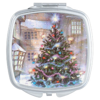 Christmas Tree Vintage Makeup Mirrors