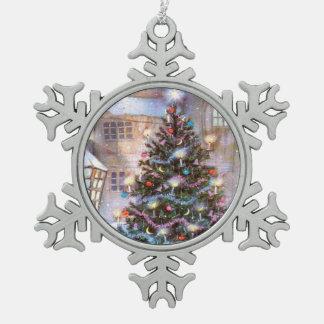 Christmas Tree Vintage Pewter Snowflake Decoration