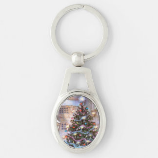 Christmas Tree Vintage Silver-Colored Oval Key Ring