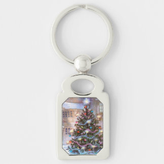 Christmas Tree Vintage Silver-Colored Rectangle Key Ring