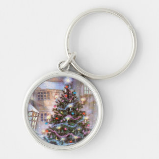Christmas Tree Vintage Silver-Colored Round Key Ring