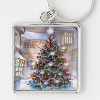 Christmas Tree Vintage Silver-Colored Square Key Ring