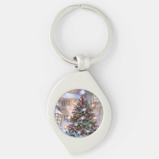 Christmas Tree Vintage Silver-Colored Swirl Key Ring