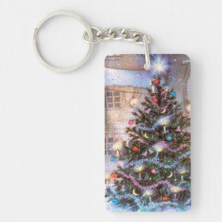Christmas Tree Vintage Single-Sided Rectangular Acrylic Key Ring