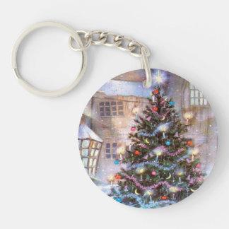 Christmas Tree Vintage Single-Sided Round Acrylic Key Ring