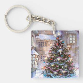 Christmas Tree Vintage Single-Sided Square Acrylic Key Ring